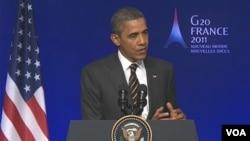 Presiden AS Barack Obama pada jumpa pers hari terakhir KTT G20 di Cannes, Perancis, Jumat (4/11).