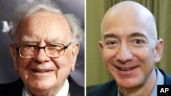 Combination of photos shows Warren Buffett on Sept. 19, 2017, in New York, and Jeff Bezos, CEO of Amazon.com, on Sept. 24, 2013, in Seattle.