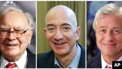De gauche à droite, Warren Buffett, Jeff Bezos et Jamie Dimon.