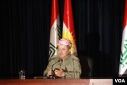 ປະທານາທິບໍດີຂອງຊາວເຄີດ ທ່ານ Masound Barzani ກ່າວວ່າ ທ່ານເຊື່ອວ່າ ຄວາມເປັນຫ່ວງ ຂອງສາກົນຈຳນວນນຶ່ງ ຈະຫາຍໄປ ຫລັງຈາກການປ່ອນບັດ ຜ່ານພົ້ນໄປ ໃນເມືອງ Irbil, ເຂດ Kurdistan ຂອງອີຮັກ, ວັນທີ 24, ກັນຍາ 2017.