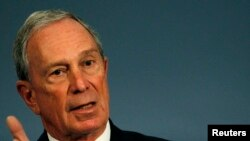 New York City mayor Michael Bloomberg speaks during a news conference at City Hall in New York, Sept. 18, 2013.