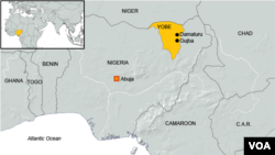Map of Gujba, Nigeria, site of Boko Haram shootings