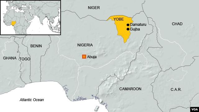 Map of Gujba, Nigeria, site of Boko Haram shootings