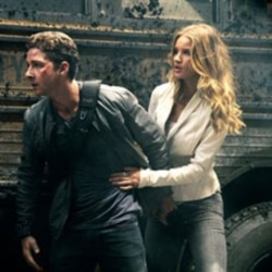 "Shia LaBeouf plays Sam Witwicky, left, and Rosie Huntington-Whiteley plays Carly Miller in a scene from ""Transformers: Dark of the Moon"""