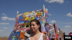 Susana, a Spanish tourist at the Cadillac Ranch in Amarillo, Texas
