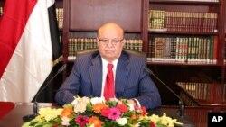 عبد ربه منصور هادی، رئیس جمهور یمن در دفتر کارش