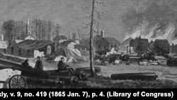 The Union army destroyed train stations, public buildings and manufacturing centers in Atlanta, Georgia.