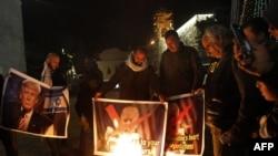 川普總統表示將承認耶路撒冷為以色列首都後巴勒斯坦抗議者焚燒川普畫像