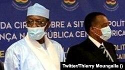 Ba présidents Denis Sassou N'Guesso ya Congo-B. (D) mpe Idris Deby ya Tchad (G) na likita lya CIRGL na Luanda, Angola, 29 janvier 2021. (Twitter/Thierry Moungalla)