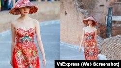 Tâm điểm chỉ trích là thiết kế chiếc áo dài quá giống với bộ xường xám của Trung Quốc.