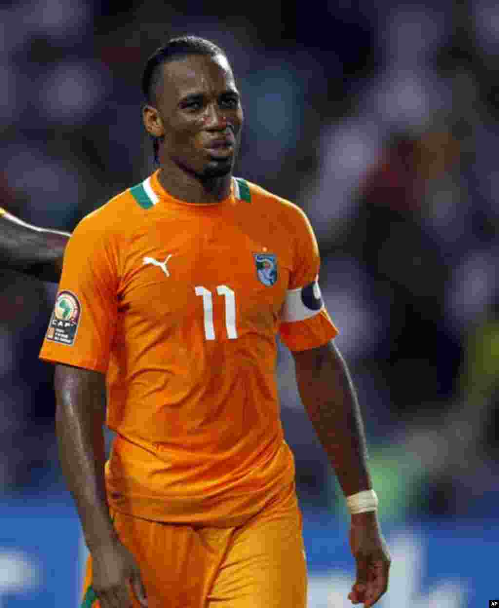Ivory Coast's captain Didier Drogba reacts after missing a penalty during their African Nations Cup final soccer match against Zambia at the Stade De L'Amitie Stadium in Gabon's capital Libreville, February 12, 2012.