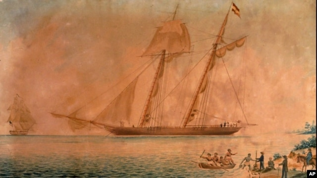 This is an 18th Century watercolor by an unknown artist of the Spanish ship La Amistad whose crew were overthrown by their cargo of African slaves.