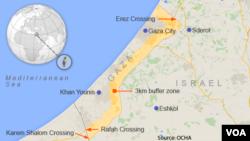 ផែនទីតំបន់ Gaza Strip ដែលនៅដាច់ពីដែនដី West Bank របស់ប៉ាឡេស្ទីនដូចគ្នា។