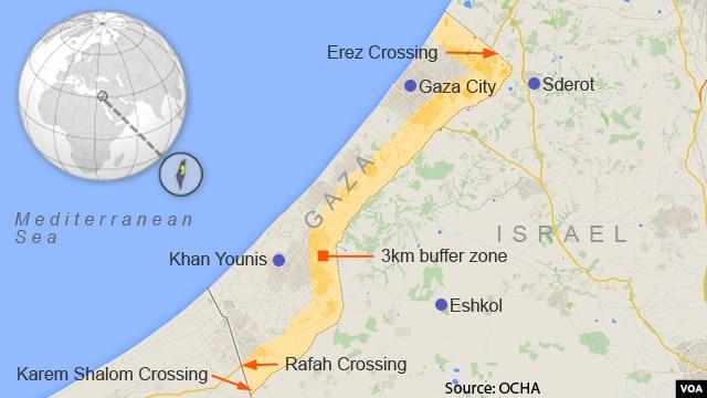 Three kilometer buffer zone in the Gaza Strip that the Israeli army has designated a no-go zone.