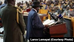 South Sudanese President Salva Kiir delivers a speech to parliament as he begins a new, three-year term in office on July 8, 2015.