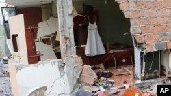 2016年4月17日厄瓜多尔佩德纳莱斯强震后被毁的建筑