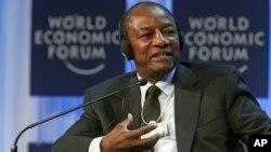 Guinea's President Alpha Conde speaks at the World Economic Forum, Jan. 26, 2012.