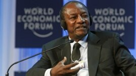 Guinea's President Alpha Conde speaks at the World Economic Forum, Jan. 26, 2012.