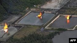 Gas flares at Shell's Nembe Creek Trunkline in the Niger Delta, Nigeria, March 22, 2013.