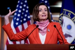 FILE - House Speaker Nancy Pelosi of California speaks during a news conference on Capitol Hill, on April 24, 2020, in Washington, D.C.