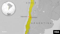 智利星期三晚發生地震的震央
