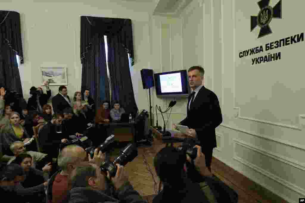 Head of the Security Service of Ukraine Valentyn Nalyvaichenko speaks during news conference in Kyiv, Ukraine, Jan. 26, 2015.