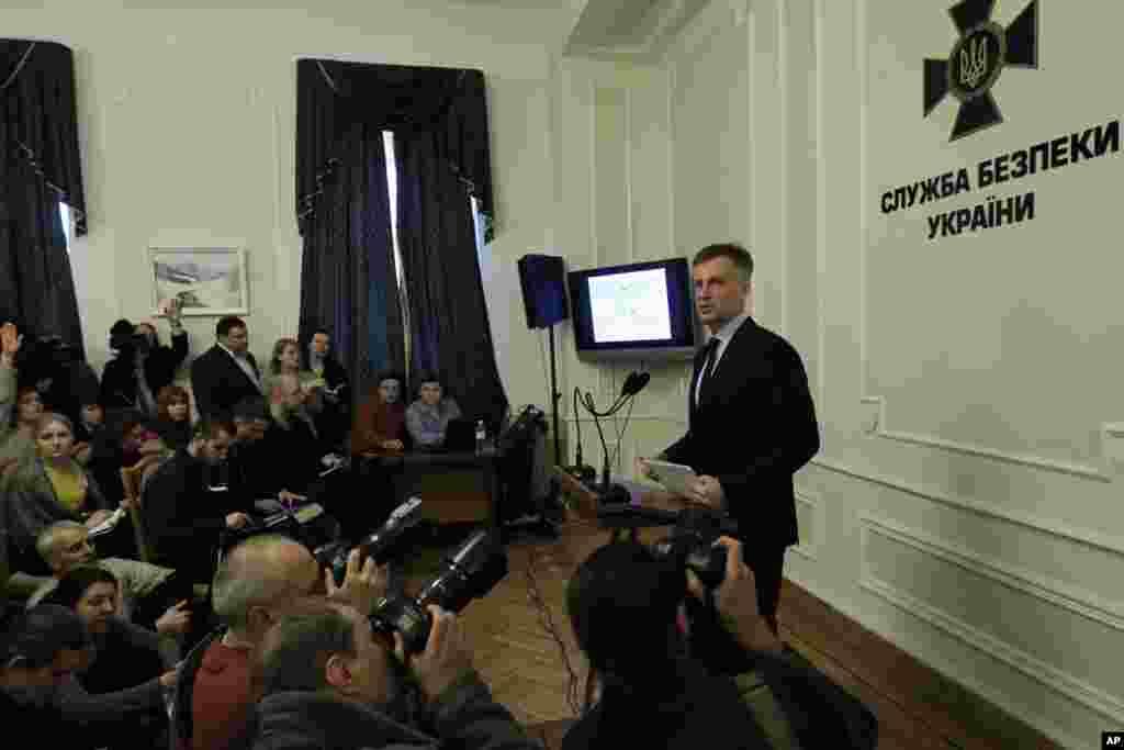 Ukrayna Təhlükəsizlik Xidmətinin başçısı Valentin Nalivayçenko mətbuat konfransında - Kiyev, 26 yanvar, 2015.