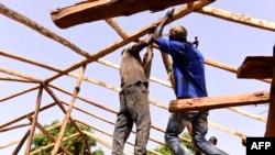 Les charpentiers assemblent des poutres en palmier de la charpente d'une maison en pisé, dans le village de Toubakouta, à 9 kilomètres au sud de Ziguinchor, dans la région sud de la Casamance, près de la frontière avec la Guinée-Bissau le 12 mai 2017.