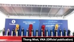 Lễ khởi công tổ hợp sản xuất ô tô VinFast của Vingroup diễn ra ngày 2/9/2017 ở Hải Phòng