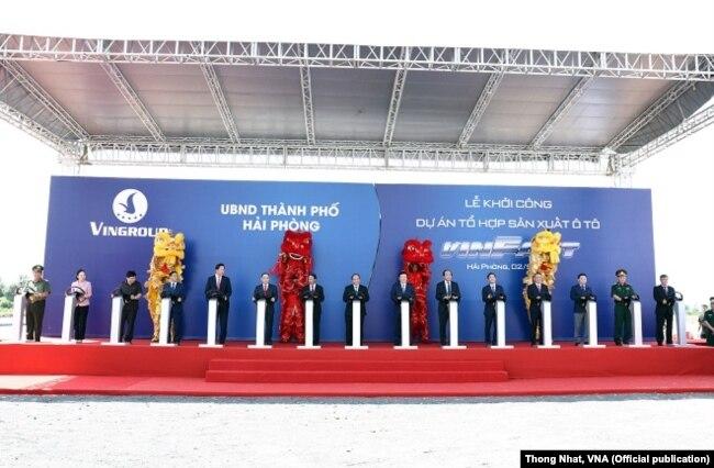 Lễ khởi công nhà máy của VinFast đã diễn ra sáng 2/9/2017, tại thành phố Hải Phòng. Ảnh: Thống Nhất-TTXVN
