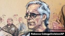 چهره نگاری از جفری اپستین در دادگاه نیویورک، ۱۵ ژوئیه ۲۰۱۹