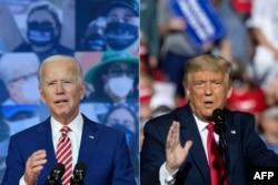 Rais Donald Trump (kulia) na Makamu wa Rais wa zamani Joe Biden