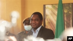 FILE - Zambian president-elect Hakainde Hichilema addresses a press conference at his residence in Lusaka, Zambia, Aug, 16, 2021.