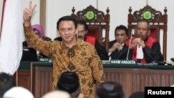 Gubernur DKI Jakarta Basuki Tjahaja Purnama atau Ahok saat menghadiri sidang pengadilan kasus penodaan agama di Jakarta, 3 Januari 2017 lalu. (Foto: dok).