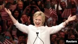 La candidate Hillary Clinton lors d'une primaire en Californie, à New York, le 7 juin 2016