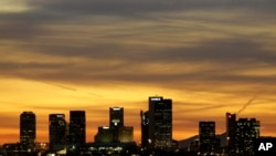 FILE - The Phoenix skyline is seen in this Jan. 31, 2008 photo. Police arrested a man suspected of planning attacks on government buildings in Phoenix and Tucson.