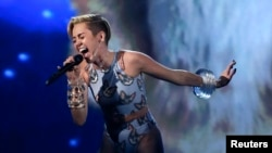 Miley Cyrus performing 'Wrecking Ball' in Los Angeles, California last year.