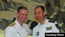 美國海軍第七艦隊司令奧庫安中將2016年5月6日會見中國海軍副司令員王海(美國海軍照片)