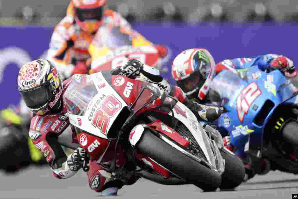MotoGP rider Takaaki Nakagami of Japan takes a curve during the French Motorcycle Grand Prix in Le Mans, France.
