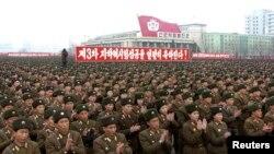 지난 14일 북한 평양 김일성 광장에서 3차 핵실험을 자축하기 위해 열린 군중대회.