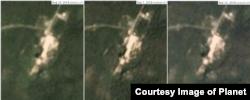 서해 미사일 발사장 인근 엔진 실험장을 촬영한 위성사진. 왼쪽부터 8월16일, 9월1일, 9월10일. 사진제공=Planet Labs Inc.