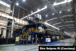Pabrik Hot Strip Mill (HSM) kedua milik PT Krakatau Steel menggunakan teknologi canggih yakni otomasi 4.0. (Foto: Courtesy/Biro Setpres)