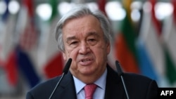 FILE - In this file photo taken on June 24, 2021, Secretary-General of the United Nations Antonio Guterres addresses media representatives in Brussels.