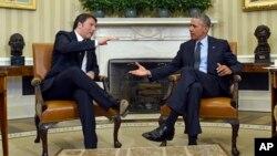 Барак Обама и премьер-министр Италии Маттео Ренци