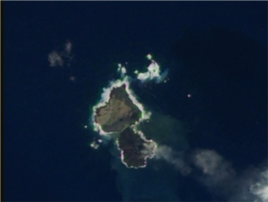 Niijima and Nishino-shima appear to be almost touching in this December 24 image taken by a NASA satellite.