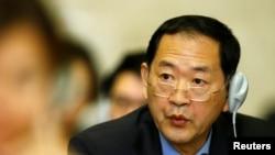 Duta Besar Korea Utara untuk PBB, Han Tae-song saat menghadiri Konferensi Perlucutan Senjata di Kantor Perserikatan Bangsa-Bangsa, Jenewa, Swiss, 5 September 2017. (Foto: dok).