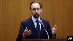 FILE - U.N. High Commissioner for Human Rights Zeid Ra'ad Al Hussein. Zeid said the ease with which people in the United States are able to buy firearms, including assault rifles, defies all reason.