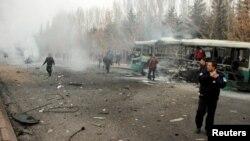 Hiện trường chiếc xe bus bị đánh bom tại Kayseri, Thổ Nhĩ Kỳ, ngày 17 tháng 12 năm 2016.