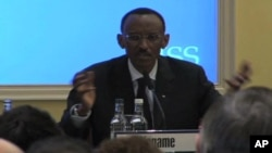 Rwandan President Paul Kagame disputes a UN report alleging war crimes by Rwandan soldiers while giving the prestigious Oppenheimer lecture at London's International Institute for Strategic Studies
