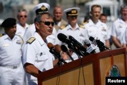 해리 해리스 미 태평양사령관이 지난 2014년 6월 하와이에서 열린 림팩 환태평양합동군사훈련 기자회견에서 발언하고 있다. (자료사진)